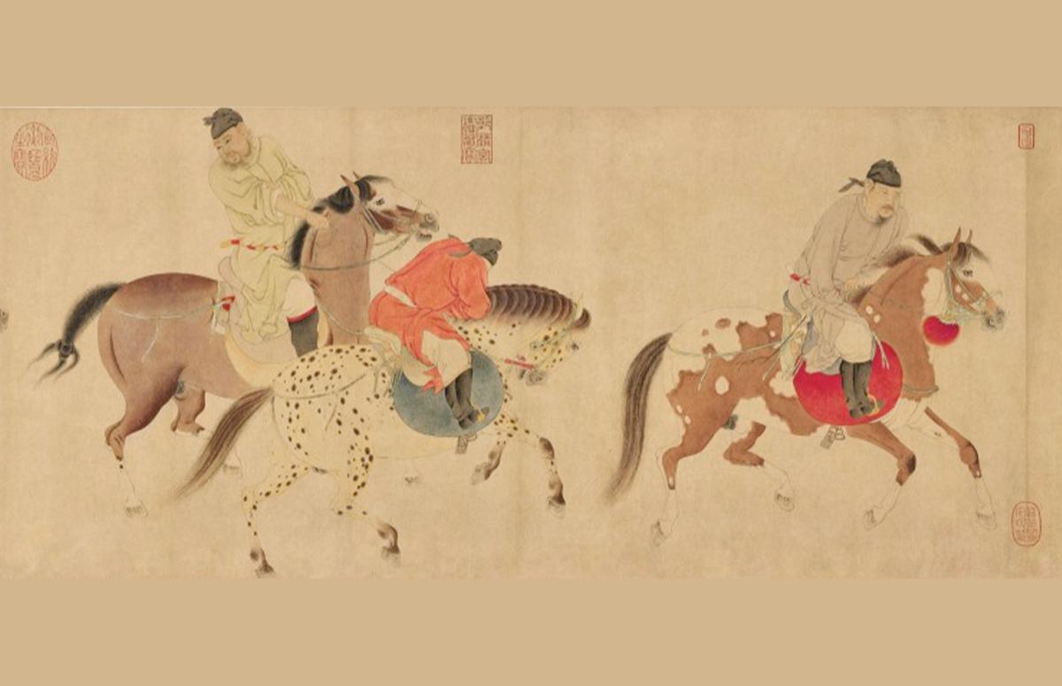 Фрагмент свитка «Пять пьяных принцев, возвращающихся верхом», Рен Ренфа
