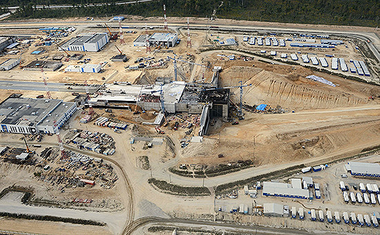 Вид на строительную площадку космодрома «Восточный» в Амурской области