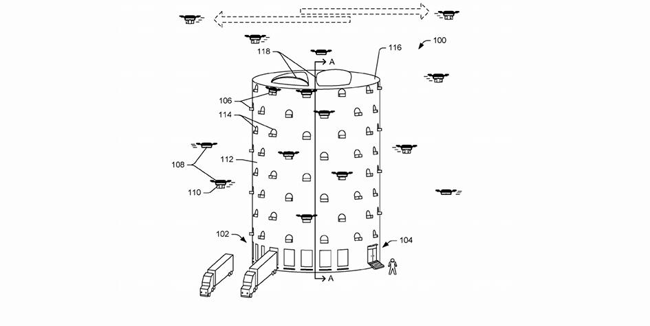 Проект башни для дронов из заявки на патент