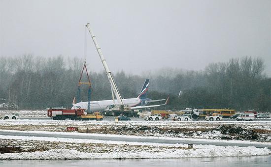 Самолет А320авиакомпании «Аэрофлот», выехавший запределы взлетно-посадочной полосы