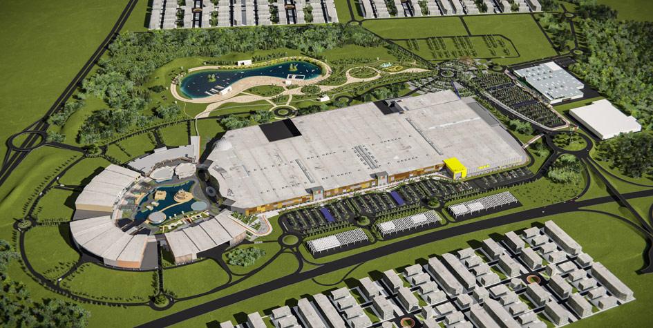 Вид нового торгового центра «Мега» в Краснодаре