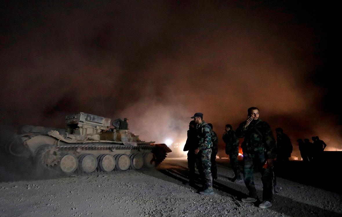 Cирийские солдаты в пригороде Дамаска. 22 марта 2018 года