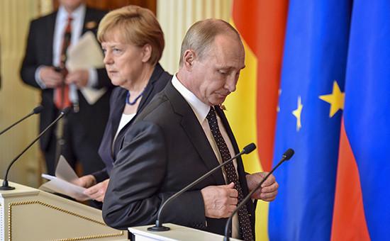 Канцлер Германии Ангела Меркель ипрезидент России Владимир Путин