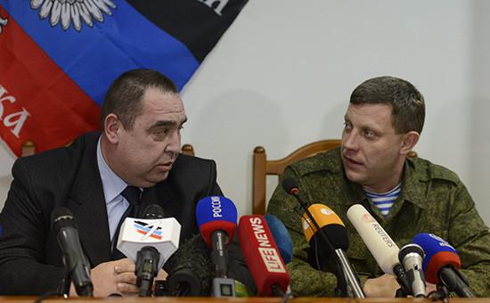 Глава ЛНР Игорь Плотницкий и глава ДНР Александр Захарченко (слева направо)