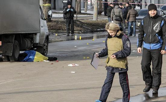 Место нападения в Харькове, 22 февраля 2015 года
