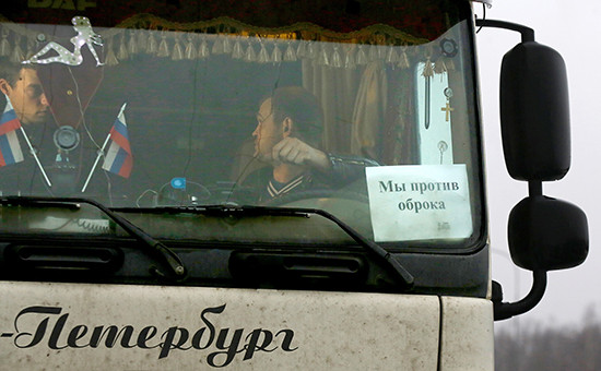 Массовая акция протеста дальнобойщиков в Санкт-Петербурге