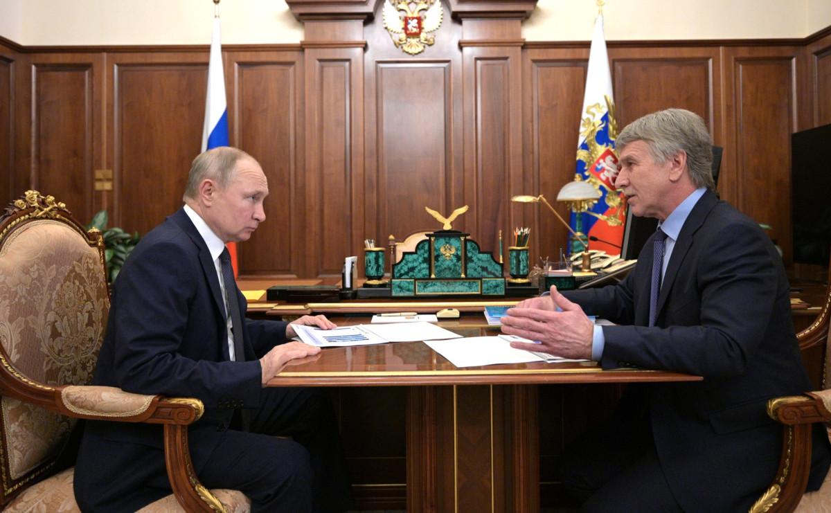 Владимир Путин на встрече с Леонидом Михельсоном