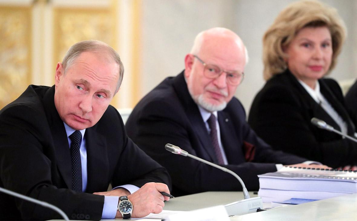 Владимир Путин (первый слева) на заседании Совета по правам человека