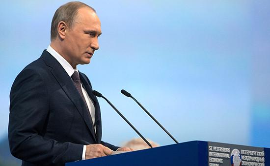 Президент России Владимир Путин на Петербургском экономическом форуме