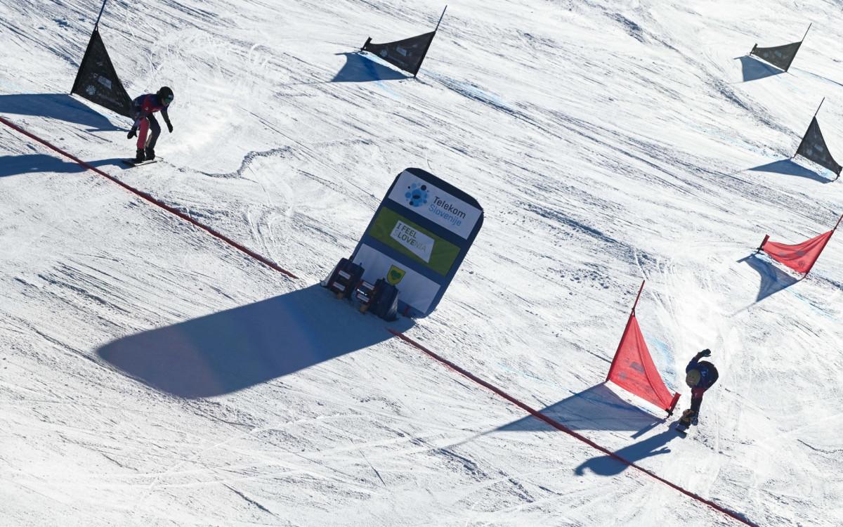 Соревнования в паралелльном гигантском слаломе у сноубордистов