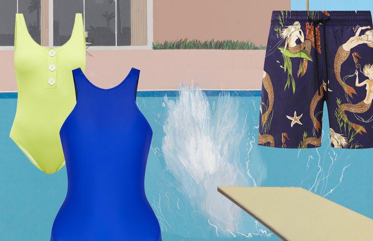 Коллаж с фрагментом картины Дэвида Хокни «Всплеск»