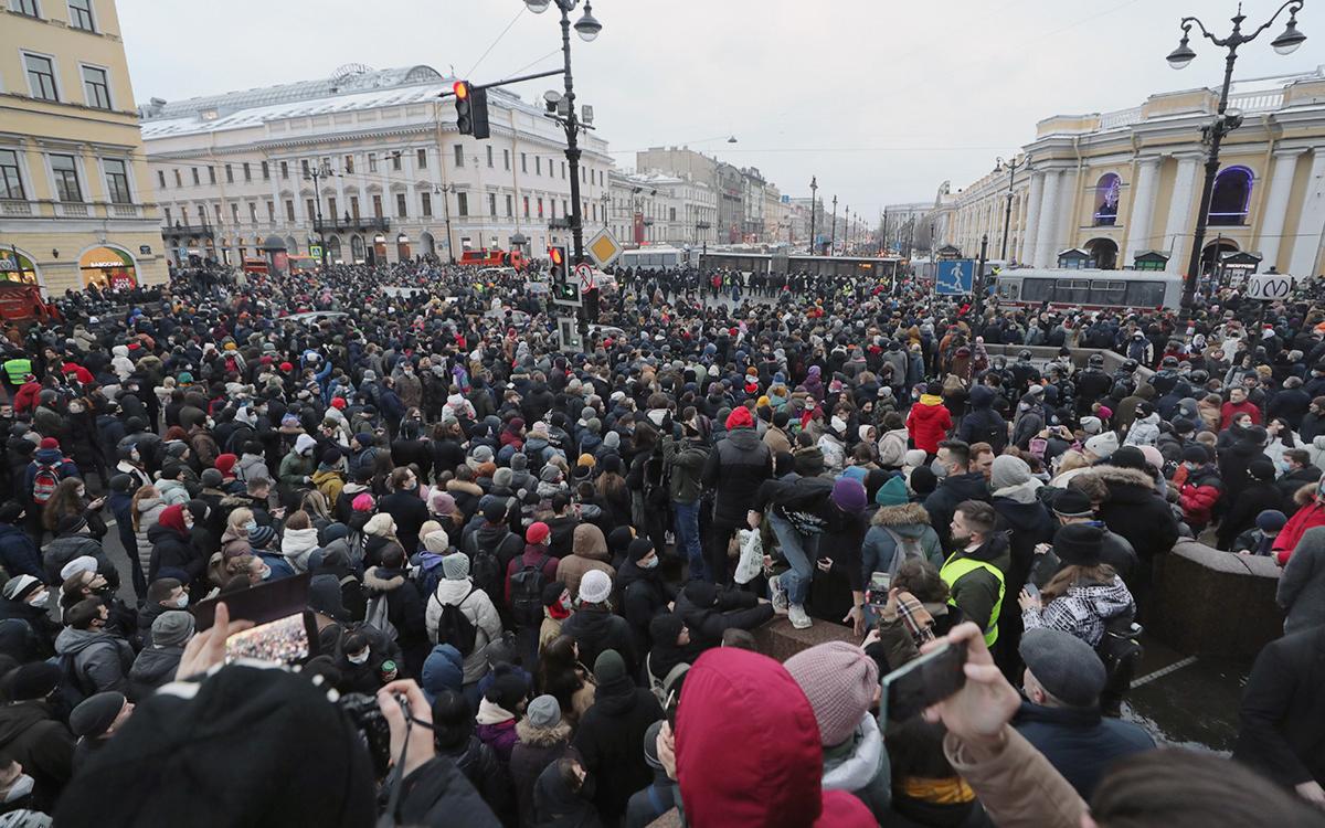 Акция в поддержку Алексея Навального в Санкт-Петербурге 23 января 2021г.
