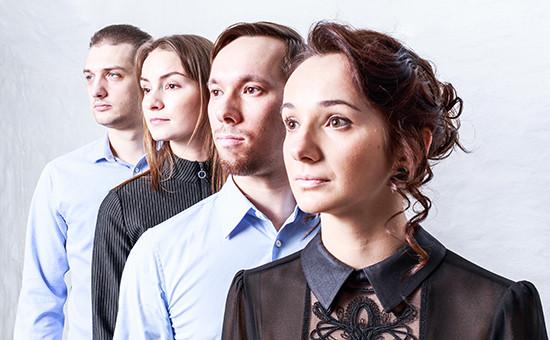 СооснователиFitmost Александра Герасимова,Алексей Полынцев, Евгения Медведева иДенис Ростовский (справа налево)