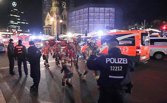 Сотрудники полиции наместе происшествия вцентре Берлина