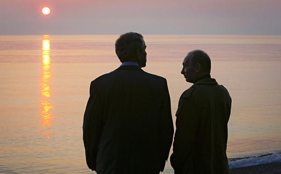 Джордж Буш иВладимир Путин вСочи, 2008 год