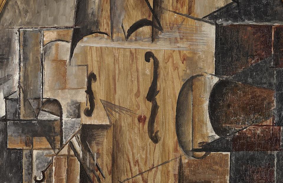 Фрагмент картины « Скрипка» Пабло Пикассо, 1912