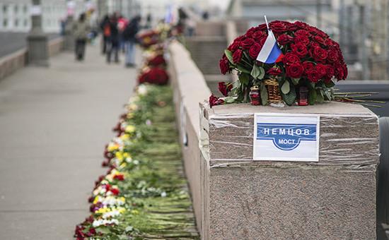 Место гибели Бориса Немцова в конце марта 2015 года