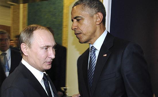 Президент РФ Владимир Путин ипрезидент США Барак Обама на21-й Всемирной конференции ООН повопросам изменения климата