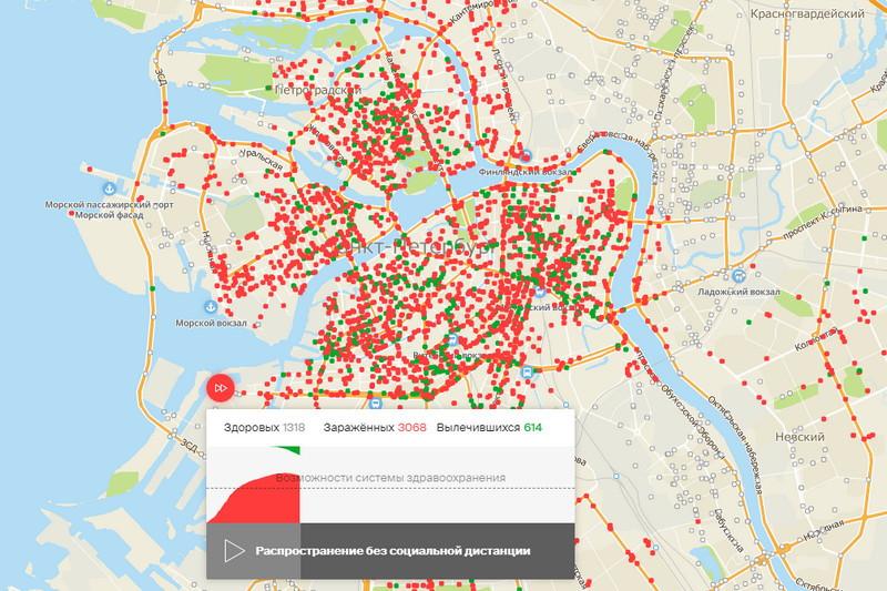 Карта распространения вируса среди жителей Петербурга