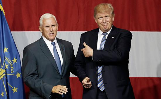 Губернаторштата Индиана Майкл Пенс икандидат впрезиденты США Дональд Трамп, 12 июля 2016 года