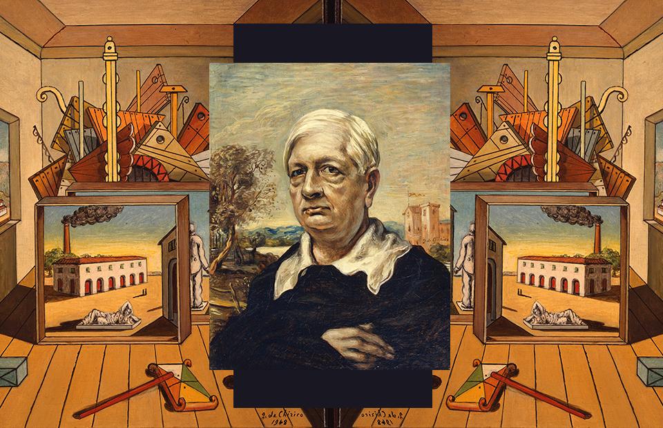 Джорджо де Кирико. «Автопортрет в черном свитере»(1957) и«Внутренняя метафизика мастерской» (1969). Из ФондаДжорджо и Изы де Кирико вРиме
