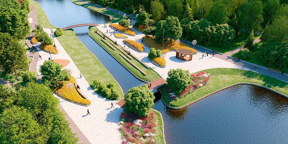 Проектное изображение благоустройства парка в Северном Бутове