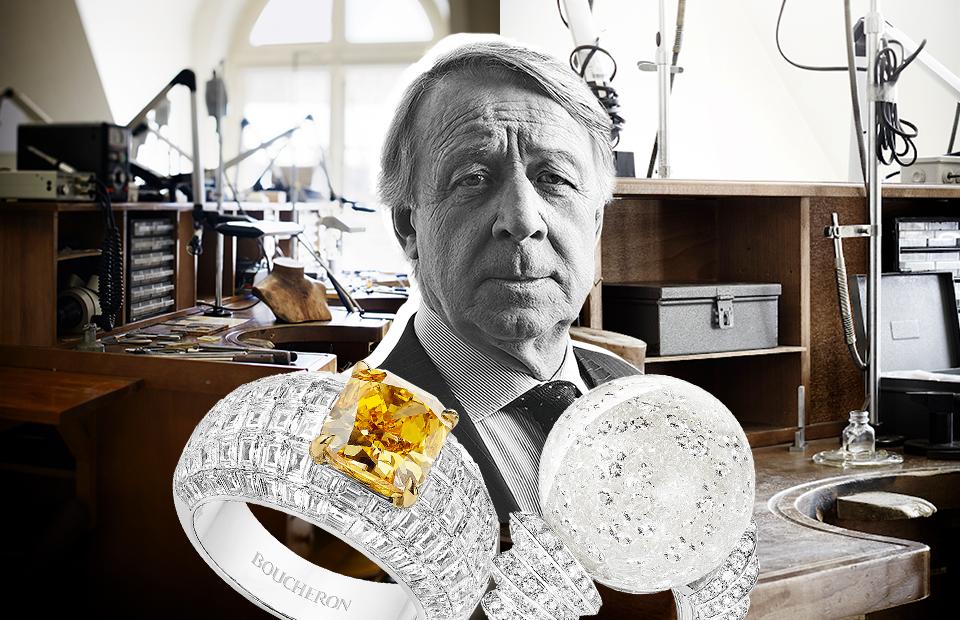 Тьерри Робер, геммолог Boucheron Кольца Diamant Polaire с желтым бриллиантом и Boule de neige с горным хрусталем, Boucheron