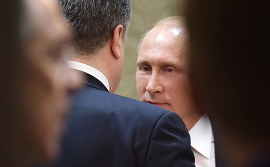 Президент России Владимир Путин (в центре) на саммите «нормандской четверки» в Минске