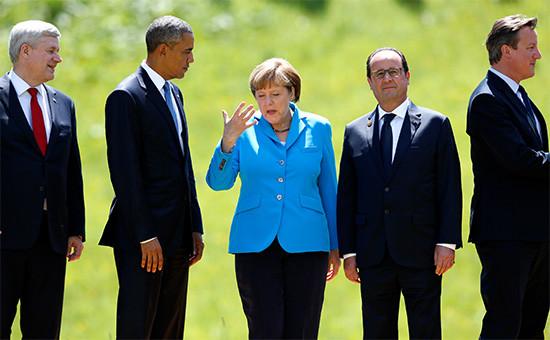Премьер-министр Канады Стивен Харпер, президент США Барак Обама, канцлер Германии Ангела Меркель, президент Франции Франсуа Олланд и премьер-министр Великобритании Дэвид Кэмерон (слева направо) на саммите G7в Баварских Альпах
