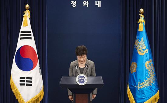 Пак Кын Хе во время выступления в официальной резиденции президента Южной Кореи в Сеуле. 29 ноября 2016 года