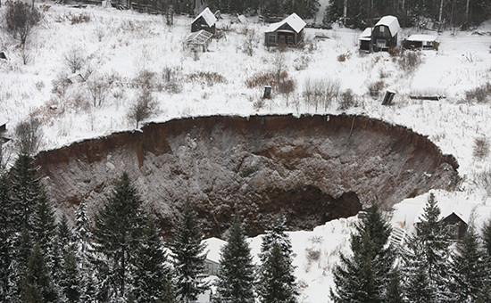 Место провала грунта на шахте «Соликамск-2»