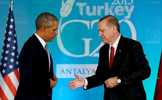 Президент США Барак Обама и президент ТурцииРеджеп Тайип Эрдоганна саммите G20 в Анталье, Турция