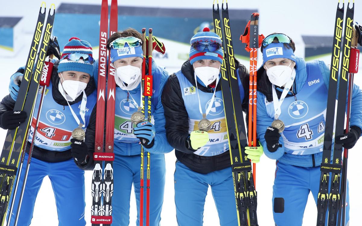 Карим Халили, Матвей Елисеев, Александр Логинов и Эдуард Латыпов (слева направо) в эстафете принесли сборной России единственную медаль на чемпионате мира по биатлону, выиграв бронзу