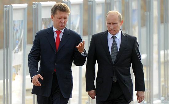 Председатель правления компании «Газпром» Алексей Миллер ипрезидент России Владимир Путин (слева направо)