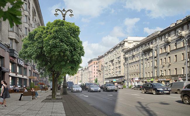 Ширина проезжей части Тверской и 1-ой Тверской-Ямской улиц останется прежней — архитекторы лишь изменят мощение тротуаров