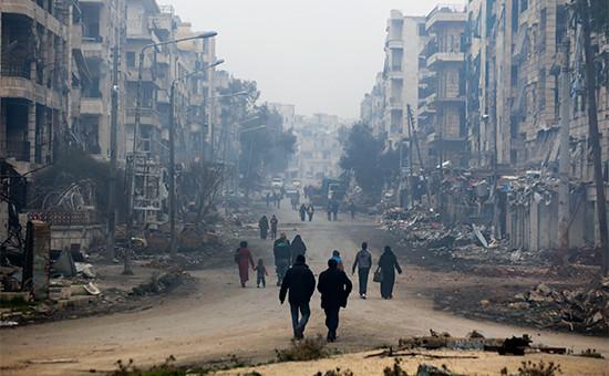 Вид наодин израйонов Алеппо. 20 января 2017 года