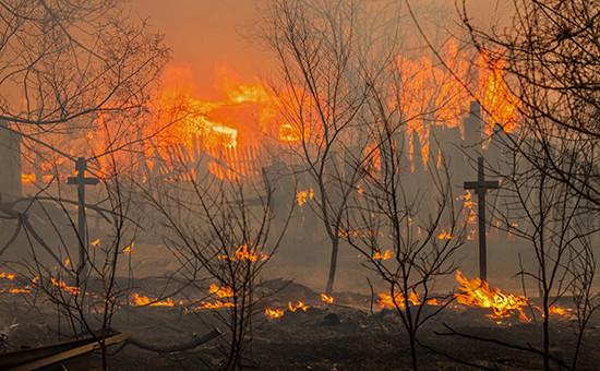 Пожар на окраине города Абакана