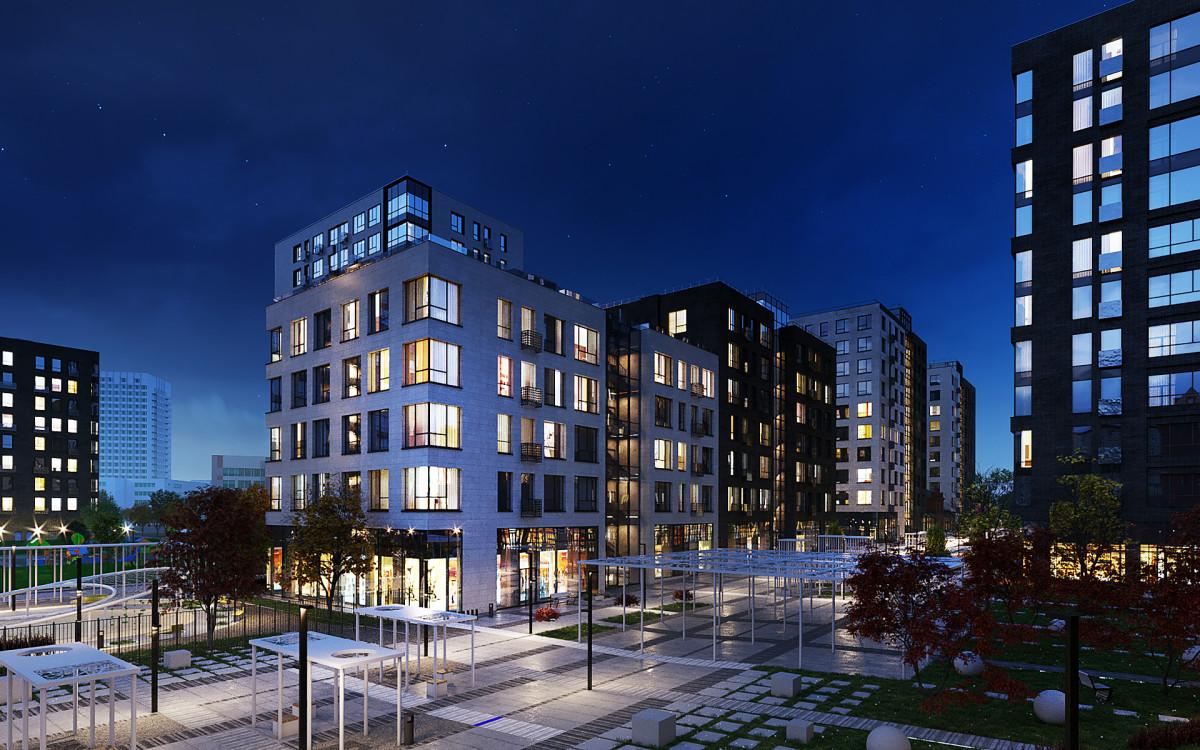 Вид на прогулочный бульвар и торговые помещения в ЖК «Резиденции архитекторов» в Басманном районе Москвы.Визаулизация:AFI Development