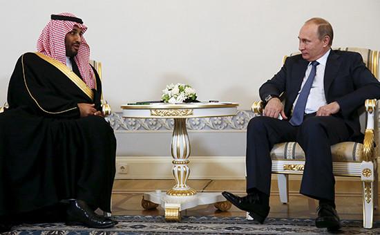 Министр обороны Саудовской Аравии принц Мухаммед бен Сальман ипрезидент России Владимир Путин вовремя экономического форума вСанкт-Петербурге. 18 июня 2015 года