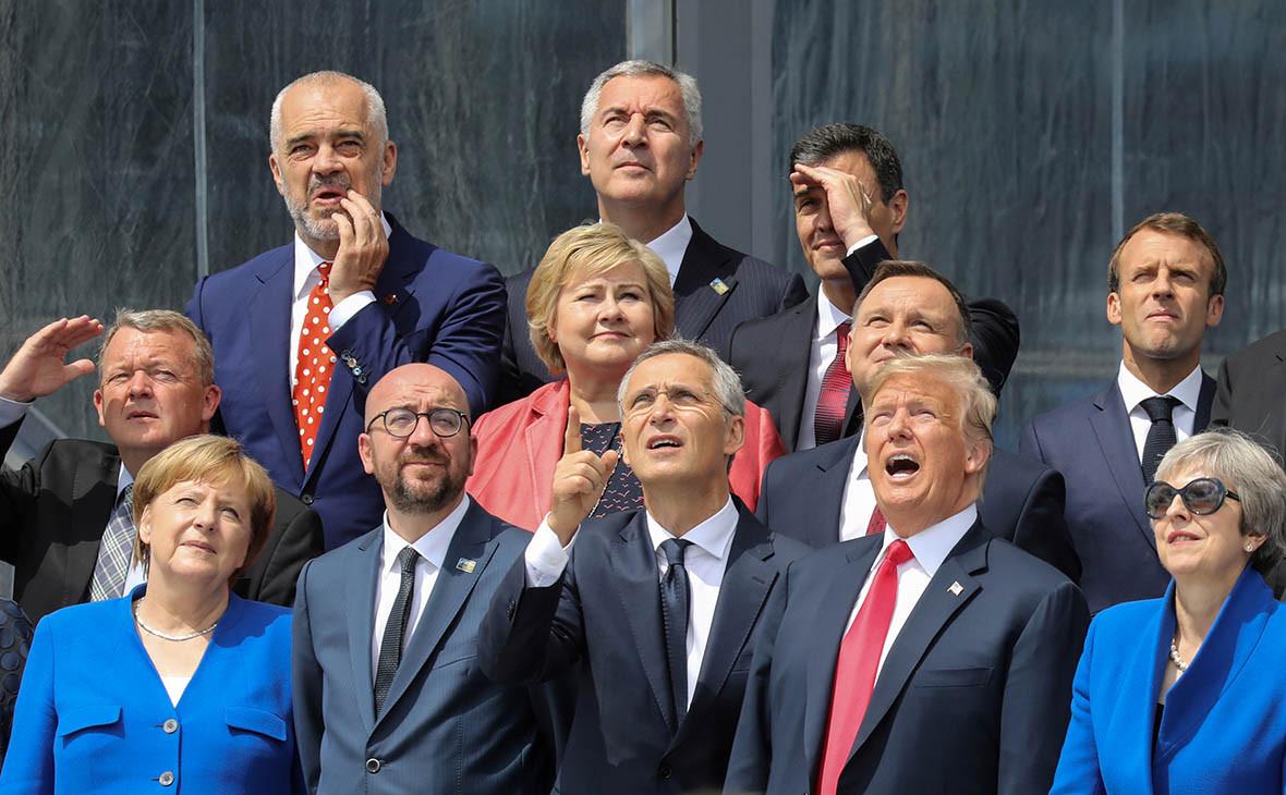 Ангела Меркель, Шарль Мишель, Йенс Столтенберг,Дональд Трамп и Тереза Мэй