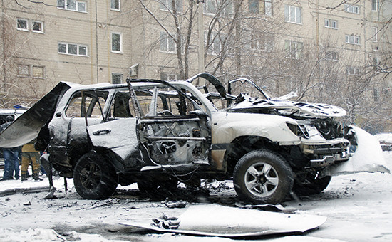 Автомобиль начальника управления народной милиции ЛНР ОлегаАнащенко. Луганск, 4 февраля 2017года