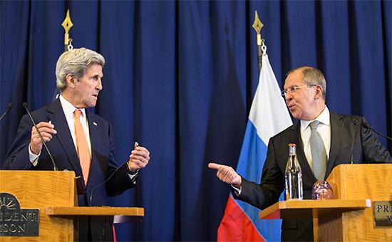 Министр иностранных дел России СергейЛавров и госсекретарь США ДжонКерри