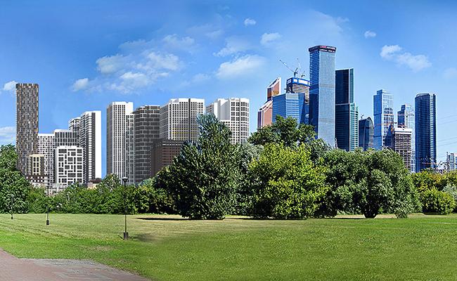 Перспективный вид нового жилого района рядомсММДЦ «Москва-Сити»