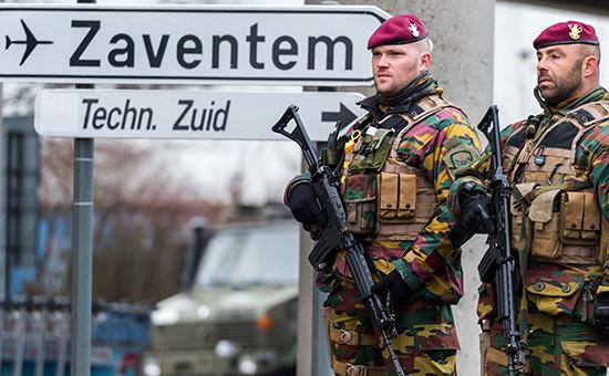 Бельгийские солдаты ваэропорту вБрюсселе