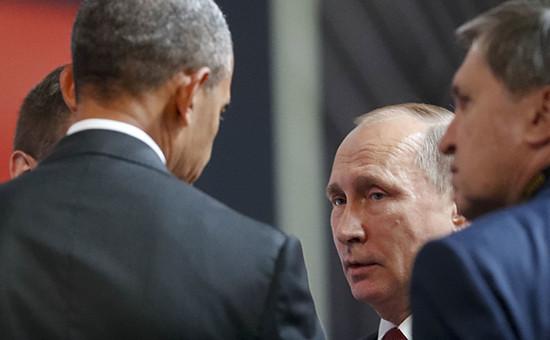 Президент США Барак Обамаи президент России Владимир Путин на саммите АТЭС в Лиме. Перу