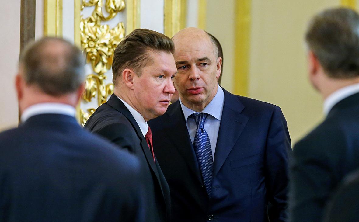 Председатель правления «Газпрома» Алексей Миллер и Антон Силуанов