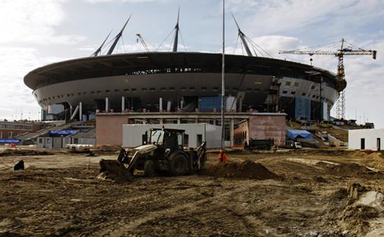 Строительство стадиона «Зенит-Арена» вСанкт-Петербурге, апрель 2016года