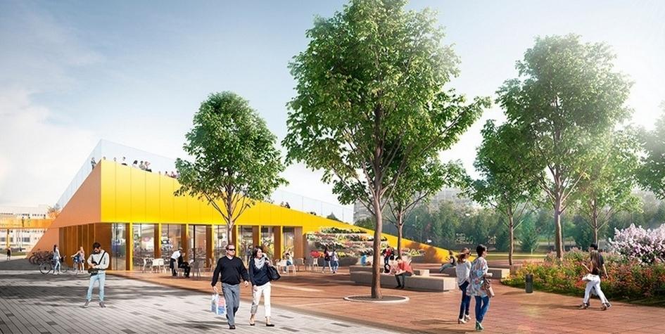 Концепция благоустройства площади Азатлык вНабережных Челнах попроекту «КБ Стрелка» иархитектурного бюро DROM