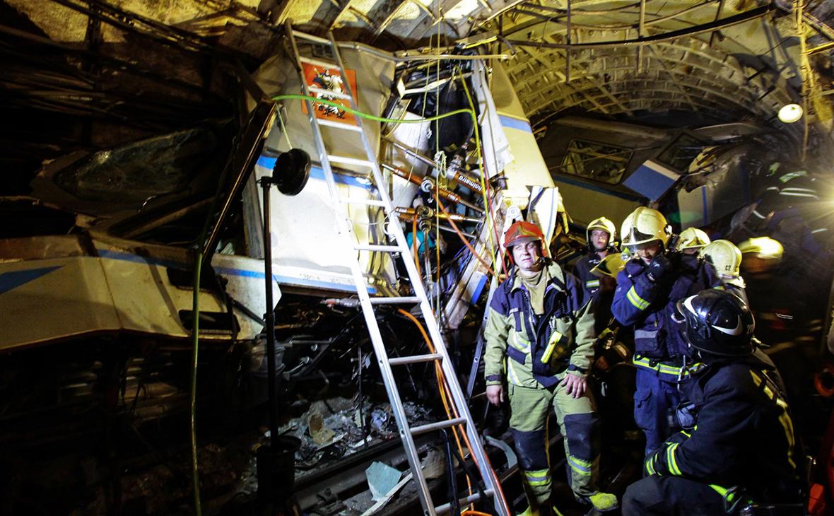 Место аварии в московском метро. 15 июля 2017 года