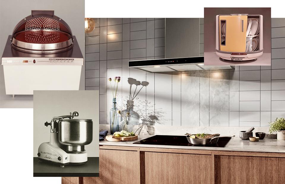 Микроволновка «Electronic 2000» (1969 г.); посудомоечная машина D10 (1959 г.); коллекция Electroluх Intuit (2019 г.); кухонный помощник (1940 г.)